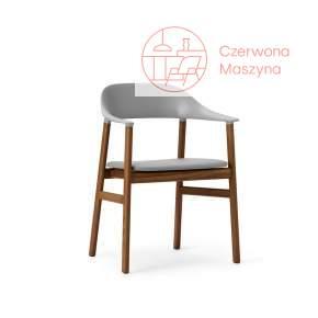 Krzesło z podłokietnikiem tapicerowane Normann Copenhagen Herit smoked oak leather grey