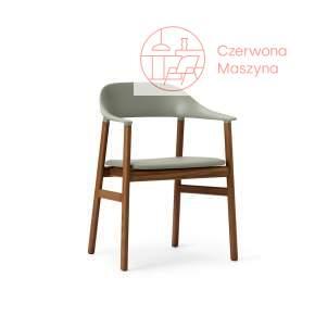 Krzesło z podłokietnikiem tapicerowane Normann Copenhagen Herit smoked oak leather dusty green