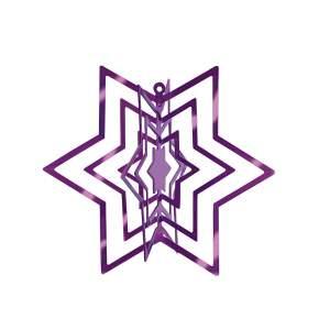 2 Zawieszki na choinkę Philippi Star Ø 6 cm, purpurowe
