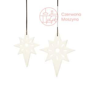 2 Zawieszki świąteczne Hübsch Gwiazdki, białe matowe