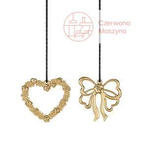 2 zawieszki serce i kokarda Rosendahl Karen Blixen h 7 cm, złota