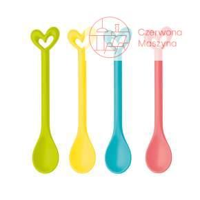 4 Łyżeczki Koziol Happy Spoons Susi, koral, żółty, turkus, limonka