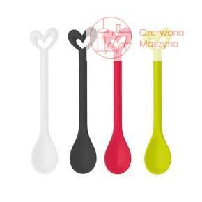 4 Łyżeczki Koziol Happy Spoons Susi, biały, czarny, róż, limonka