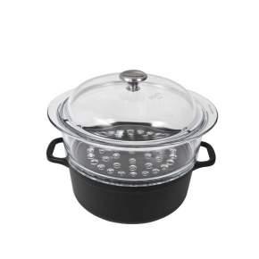 Garnek żeliwny z naczyniem do gotowania na parze Chasseur Sublime, Ø 20 cm, czarny