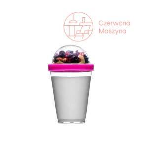 Kubek na jogurt z pojemnikiem na musli Sagaform Fresh 300 ml, różowy