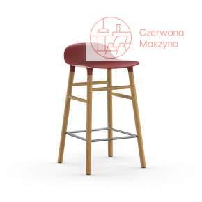 Krzesło barowe Normann Copenhagen Form 65 cm dąb, czerwone
