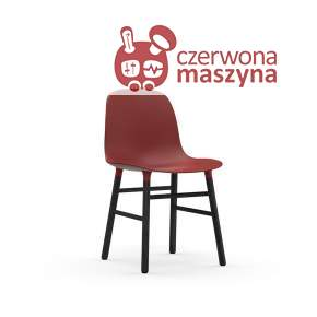 Krzesło Normann Copenhagen Form, czerwone z czarnymi nogami