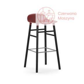 Krzesło barowe Normann Copenhagen Form 75 cm dąb, czerwone z czarnymi nogami