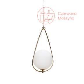 Lampa wisząca Hübsch Sphere, biel i mosiądz