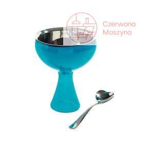 Pucharek do lodów z łyżeczką A di Alessi Big love niebieski