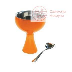 Pucharek do lodów z łyżeczką A di Alessi Big love pomarańczowy