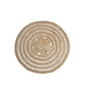 Okrągły dywan z juty i bawełny Madam Stoltz,Ø 180 cm, natural