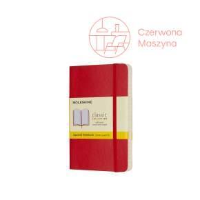 Notes Moleskine Classic P w kratkę, miękka oprawa, 192 strony, czerwony